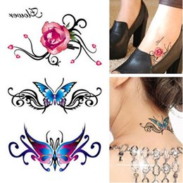 Wholesale Tattoos Colorful Sleeves - Wholesale- Women's 3D Colorful Waterproof Body Lip Art Tattoo Sleeve DIY Tattoo Stickers On The Body Glitter Temporary Tattoos Rose Flower