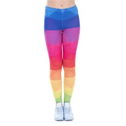 Wholesale Colorful Runners - Women Leggings Triangles Rainbow 3D Print Girl Skinny Stretchy Colorful Pattern Pants Runner Casual Jeggings Yoga Soft Trousers New (J43477)
