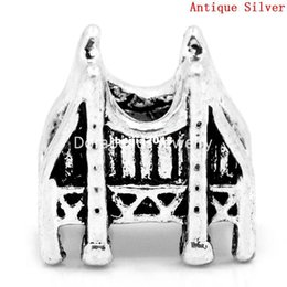 Wholesale Antique Golden - Free Shipping! European Charm Beads San Francisco Golden Gate Bridge Antique Silver 13x12mm,Hole:Approx:5mm,40PCs New Jewelry making DIY Hot