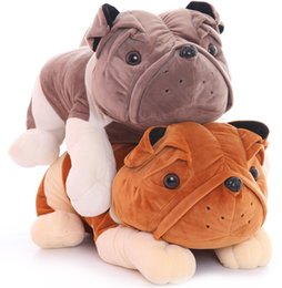 Wholesale Baby Bulldog - BOHS Cute Plush Bulldog Doll Lying Prone Dog Cockle Pillow Toy Baby Toddler Gift