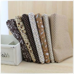 Wholesale Cheap Cross Stitching - FREE SHIPPING 7 piece 50cm*50cm Cotton Fabric Fat Quarter Bundle Vintage Brown Quilting Patchwork Tilda Sewing cheap fabrics