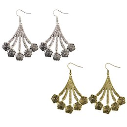 Wholesale Gypsy Rose Wholesale - idealway Bohemian Gypsy Vintage Silver Gold Plated 2 Colors Alloy Carving Rose Flower Drop Dangle Earrings