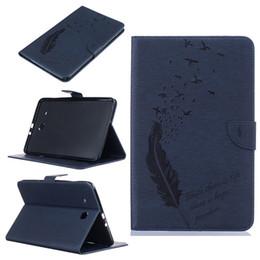 Puestos de aves online-Para Samsung Tab E 9.6 pulgadas T560 T561 Funda de cuero para tableta Filp Funda Cartera para billetera con ranura para tarjetas Embossed Feather bird Desgin