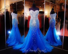 Wholesale Cheap Womens Sexy Dresses - 2017 Hot Royal Blue Mermaid Prom Dresses Beaded Beauty Pageant Dress Tulle Floor Length Runway Evening Gowns For Womens Cheap