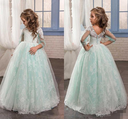 making sleeves for wedding dress with best reviews - 2016 Romantic Mint Green Flower Girl Dress for Weddings Tulle with Lace Open Back Ball Gown first communion pageant dresses for girls