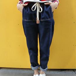 Wholesale Women Coats Fat - Wholesale- 2016 spring and summer women new casual denim trousers loose Harem plus size fat MM 200 pounds jeans fashion femme MZ243