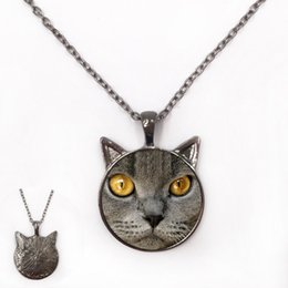 Wholesale Brown Crystal Necklace - Brown British Shorthair cat pedant necklace with black ear jewelry three metal colors for pet lover real cat shape