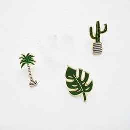 Wholesale Metal Clothes Pins - Wholesale- Free Shipping Cute Oil Drop Cartoon Green Tree cactus Leaf Metal Brooch Pins Fashion Jeans Clothes Decoration Jewelry Wholesale