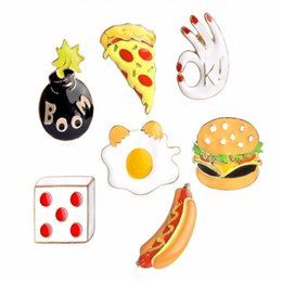 Wholesale Pizza Jacket - 1 pcs Fashion Enamel Pins Button Hamburger Egg Hot Dog Pizza Hand Bomb Dice Brooch Hat Jacket Shirt Collar Badge Cartoon Jewelry
