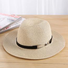Wholesale Brim Iron - 2017 Unisex Hat Men Sun Hat Summer Iron Ring Belt Design Women's Wide Brim Straw Hats UV Protection Beach Chapeu Femme