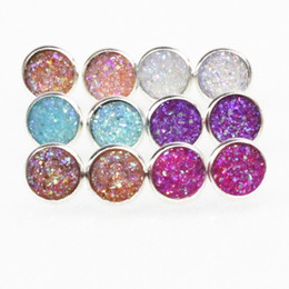 Wholesale Drusy Stud Earrings - Handmade Druzy  Drusy Resin Dome Seals Cabochon Round Earrings Fashion Trendy Woman Jewelry 1Pair e073