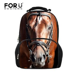 Wholesale Horse School Backpacks - Wholesale- Cool Children 3D Animal Felt Backpack Men's Backpack Crazy Horse Printing Bag for School Girls College Student Bagpack Retail