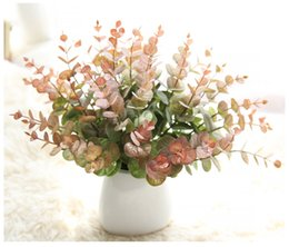 Wholesale Small Leaves Plants - The money leaves small Eucalyptus flower Artifcial Grass Leaves Plant wall flower Wedding decoration Rural Style Potted Plant