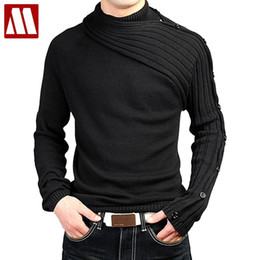 Wholesale Gray Sweaters For Men - Wholesale- Men's Personality Asymmetric Sleeve Fashion Sweater Knitwear Male Sweaters For 2015 Bussiness Man Inside Coats Spring D344