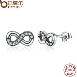 Wholesale Infinite Earrings - yizhan BAMOER High Quality 925 Sterling Silver Infinite Love, Clear CZ Knot Earrings for Women Fine Jewelry PAS475