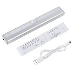 Wholesale Usb Infrared Sensor - USB Rechargeable 10 LEDs Infrared Magnetic IR Motion Sensor LED Wall Lights White Warm White Night Light Battery Lamp Wardrobe Light SY0005
