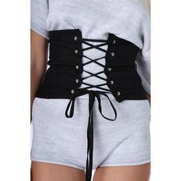 Wholesale S Shape Buckle Belt - 2017 New Shape-Making Waist Belt Women Black Faux Suede Lace Up Corset Bandage Womens Waist Belt Sexy Fashion Belt Wholesale