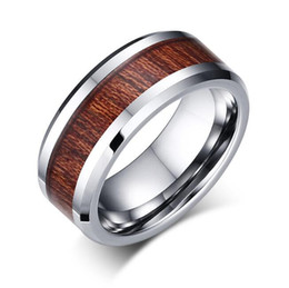 Wholesale Wood Inlay Rings - Manufacturer wholesales directly 8mm Koa Wood Inlay Tungsten Carbide Ring US sizes