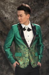 Wholesale Design Dance Pants - men suits designs high quality terno stage costumes for singers men printing blazer dance clothes jacket style dress punk green
