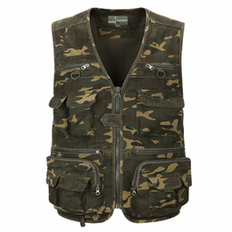 Wholesale Camouflage Waistcoat - Wholesale- 2017 Summer Camouflage Cotton Vest Men Sleeveless Jackets With Many Pockets Plus Large Size 4XL Casual Waistcoat Vest