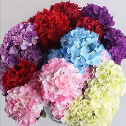 Wholesale Wedding Bouquets Free Shipping - Upscale Artificial Hydrangea Flowers Head Holiday Wedding Decorations DIY Accessories 15CM Diameter 23 Colors Free Shipping