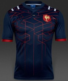 Wholesale Flash Style - 2016 2017 New style France Super Rugby Jerseys 16 17 France Shirts Rugby Maillot de Foot French BOLN Rugby shirt size S-3XL