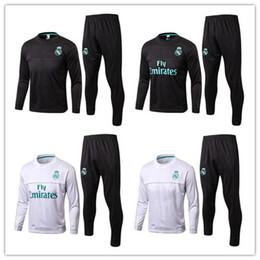 Wholesale Men S Suit Jacket Coat - Best quality 17 18 Real Madrid Soccer Tracksuit Jacket Suit 2017 2018 Ronaldo Jogging Football Tops Coat Pants Adults Training Tracksuit