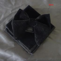 2018 pajaritas de terciopelo negro caliente con pañuelo a juego Pañuelo de corbata de terciopelo único para hombre pajarita de terciopelo conjunto de corbata Hankie desde fabricantes