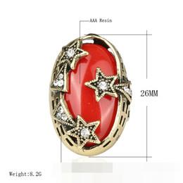 Wholesale Jade Rings Carvings - Gypsy Bohemia Resin Imitation black red agate gem jade ruby Double layer ring Hollow carving rhinestone Pentagram ring Pentacle rings j320
