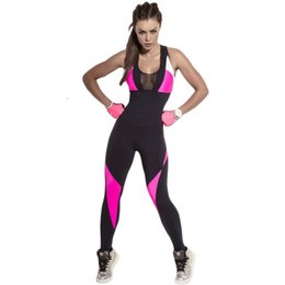 7f6d15c6bb38 Raodaren Fashion Mesh Bodysuit Women Fitness Yuga Stretch Sexy Jumpsuits  Backless Pink Black Patchwork Overall Hollow Out Playsuits 2017