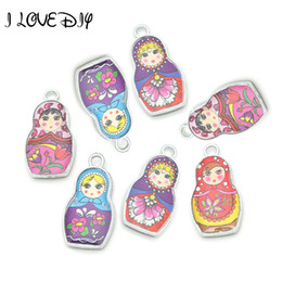Wholesale Charms Doll Enamel - Wholesale- Wholesale 4 Mixed Color Both 2 sides Enamel Matryoshk Russian Doll Charm Pendants For Jewelry Making