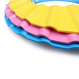 Wholesale 10PCSX Adjustable Baby Kids Children Bath Shower Shampoo Cap Hat Wash Hair Shield Soft For Baby Kids Children