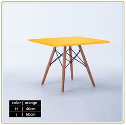 Wholesale Wood Living Room Furniture Sets - Contemporary Retro Style Wooden Dining Set Living Room Table Steel Support Structure New Status Exported Carton Packing