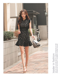 Wholesale Korean Sexy Shorts - summer new Korean fashion sexy ladies slim short sleeved frill stitching wrap hip dress