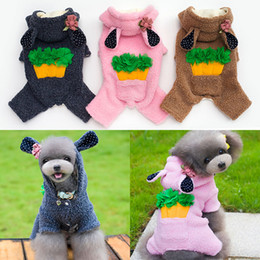 Wholesale Dogs Jumpsuit Fleece - New Arrival Thicker Dog Jumpsuit Fleece Cartoon Style Small Medium Pets Four Legs Warm Costumes Free Shipping 5 Sizes