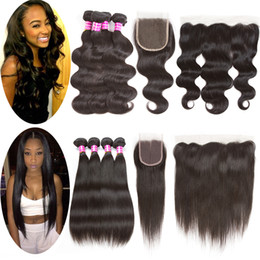 Wholesale Wet Ears - Body Wave Straight Hair 4 Bundles with Lace Closure Or Ear to Ear Lace Frontal Unprocessed 8a Brazilian Wet and Wary Remy Hair