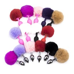 Wholesale Tail Anal Plug Colorful - Colorful Chuzzle Butt Plug Fluffyball Silicone Butt Plug Rabbit Tail Anal Plug Sex Toys for Woman Sex Products