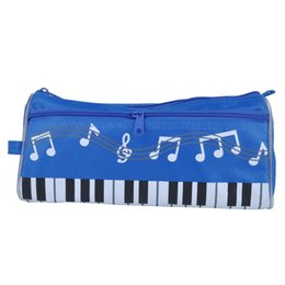 Wholesale Music Stationery Gifts - Music Pen Bag Big Capacity Pen Bag Oxford Cloth Pencil Case Students Stationery Bag Blue
