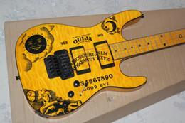 Wholesale Electric Guitars Ouija - LTD Kirk Hammetts Flame Maple Top Yellow KH-2 Ouija Electric Guitar Star & Moon Inlay Floyd Rose Tremolo EMG Pickups Black Hardware