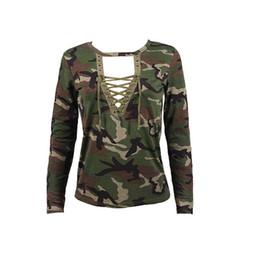 Wholesale Wholesale Fashion Bandage Clothing - Wholesale- Cool Design Women Top Clothing Deep V-neck Bandage Long Sleeve Shirt Slim Casual Blusas Camouflage Print Tops Tee harajuku