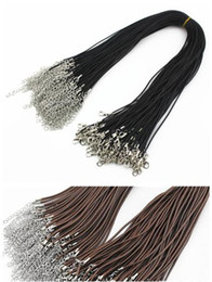 Wholesale Cord Necklaces For Women - Black brown 45+5cm 2mm leather cord Necklace chain with alloy lobster clasps for Man woman Pendants