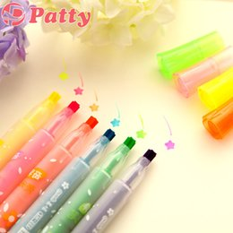 Wholesale Wholesale Copic Markers - Wholesale-6 pcs Lot Marker pen Starry star Highlighter pen copic markers material escolar school supplies stationery papelaria F260