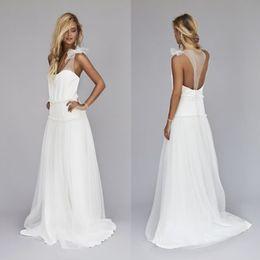 Wholesale Simple Drop Waist Wedding Dress - Vintage 1920s Beach Wedding Dresses Cheap Dropped Waist Bohemian V Neck Illusion Back Boho Bridal Gowns Custom Made EN7224