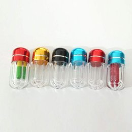 Wholesale Empty Pill Container - 2Gram Mini Plasitc Empty Pill Box Clear Tube With Metal Screwed Cap Round Small 1Pcs Pill Capsule Bottle Container