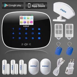 Wholesale Wireless Remote Motion Detector - LS111- 8 independent arm disarm zones KR-G19 GSM home wireless wired alarm system RFID arm disarm curtain motion detector APP remote