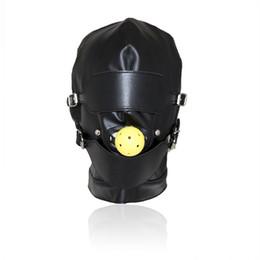 2019 campana de pelota bdsm Top Grade Leather Sex Toys Headgear With Mouth Ball Gag BDSM Erotic Leather Sex Hood para hombres Juegos para adultos Sex SM Máscara para fiesta Cosplay campana de pelota bdsm baratos