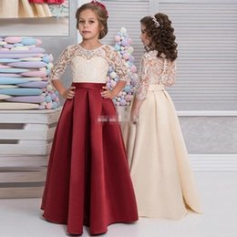 Wholesale Vintage Christmas Formals - Vintage 3 4 Long Sleeves Lace Satin Flower Girls Dresses Red Champagne Girls Pageant Dresses Kids Formal Party Wears Birthday Dresses 2017