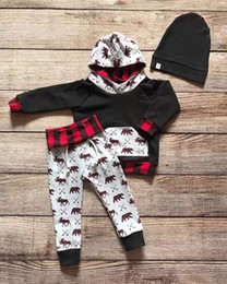 Wholesale Bear Girls Hooded - 2017 Newest Infant Baby Deer Bear Print Hooded Clothes Sets Newborn Baby Christmas Arrow Plaid Outfits
