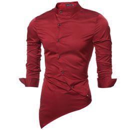 Wholesale Wholesale Shirt Fabric - Wholesale- Brand 2017 Fashion Male Shirt Long-Sleeves Tops Satin Fabric High-Quality Mandarin-Collar Mens Dress Shirts Slim Men Shirt 2XL