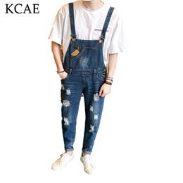 Wholesale Mens Denim Suspenders - Wholesale-New Mens Bib Denim Overalls Skinny Jeans Ripped Jumpsuit Men Blue Suspender Jeans Men Han edition foot hole pants